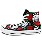 Wen Skull Rose Original Hand Painted Design Shoes Women And Men Canvas Sneakers