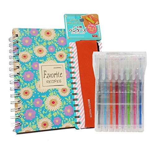 Recipe Books to write in Kit : Blue Turquoise Flora Blank Receipe Book Binder + Orange A5 Pencil Pouch Binder + Color Pens with Clear ()