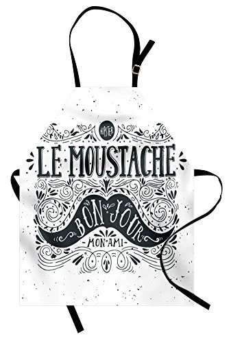 Lunarable Mustache Apron, Stylized Pattern of Hipster Look Le Moustache Bonjour Mon Ami Message, Unisex Kitchen Bib Apron with Adjustable Neck for Cooking Baking Gardening, Charcoal Grey and -