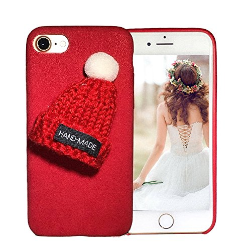iPhone 8 Case, iPhone 7 Case, Vivafree Girl [Premium 100% Handmade TPU Cover] Cute Design with Unique Wool Beanie Ring Stand – Soft Slim Silky Flexible Cellphone Case – Red