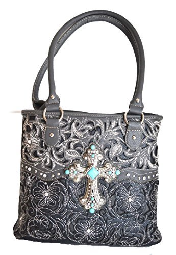 cowgirl western floral stitched handgun carry turquoise cross rhinestone purse (Gray)