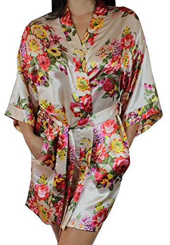 Fancy Pocket Silk - Women's Satin Floral Kimono Short Bridesmaid Robe W/Pockets - Champagne M/L