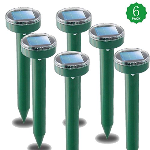 TYNICE 6Pack Mole Repellant Solar Mole Repeller Rodent Chipmunk Repellent Gopher Repellent Ultrasonic Get Rid of Moles in Yard No Killing Like Mole Trap Mole Killer Mole Poison Gopher Trap by TYNICE