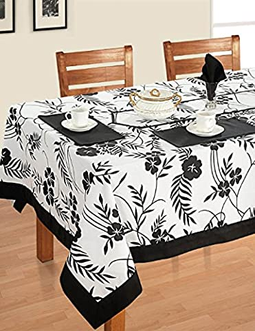 Black White Cotton Spring Floral Tablecloths For Dinning Tables 60 X 60 Inches, Black (4 Pezzo Stampato Inserire)