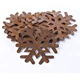 Factory Direct Craft Group of 12 Ornate Primitive Rusty Tin Snowflake Cutouts for Displaying, Crafting and Creating