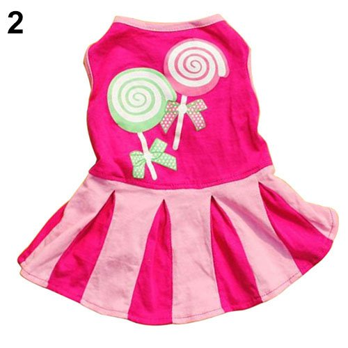 MJuan-clothing,Pet Dress Dog Accessories, Cartoon Sweet Cat Puppy Dog Dress Apparel Love Heart Lollipops Print Pet Clothes - M Big Candy