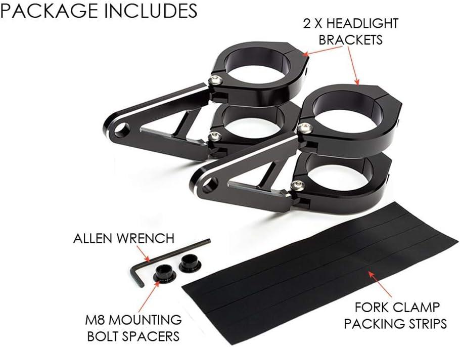 Moto Supports de Phare avec Court Bras pour Personnalis/é Projet V/élo Noir 42-43mm