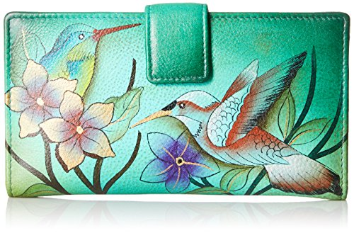 Anna by Anuschka Hand Painted Leather | Two Fold Wallet/Clutch | Birds In Paradise Green