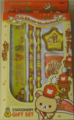 Rilakkuma Wonderland Stationery Gift Set - Yellow / Blue (Yellow - Red)
