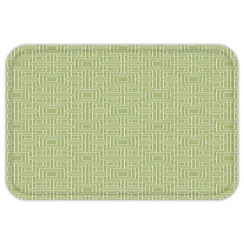 Twister Mat Halloween Costume (VROSELV Custom Door MatGeometric Complex Detailed Nested Sqare and Line Pattern on Green Background Pistachio Green and White)