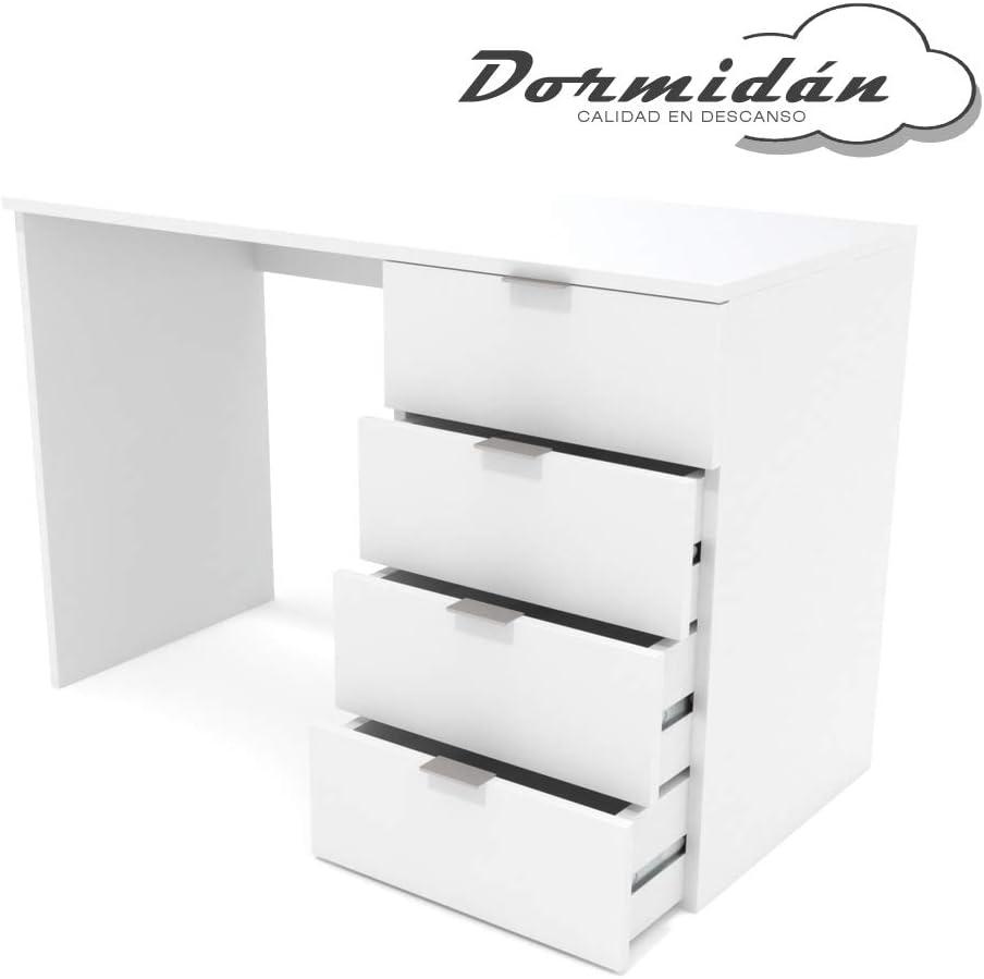 Dormidán- Escritorio 4 Cajones, Mesa de Oficina, Despacho Ordenador, (Blanco)