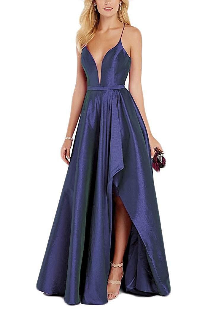 Navy bluee Staypretty Halter Prom Gowns Satin V NCK High Low Evening Party Dresses with Pockets