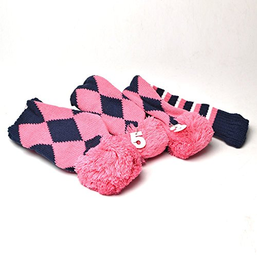 GOOACTION Drivers, Fairway Woods, Hybrids 3pcs Pink and Navy Blue Checkered Pattern Pom Pom Sock Set Vintange Knit Universal Golf Head Covers Fit for All Golf Brands ()