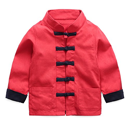 Mud Kingdom Boys Dress Coats Chinese Costume Tang Size 5 Red (Dresses Chinese Dress Chinese)