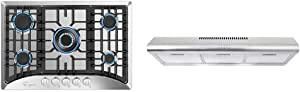 "Empava 30"" 5 Italy Sabaf Burners Gas Stove Cooktop Stainless Steel, 30 Inch & Cosmo COS-5MU36 36 in. Under Cabinet Range Hood Ductless Convertible Duct, 36 inch"