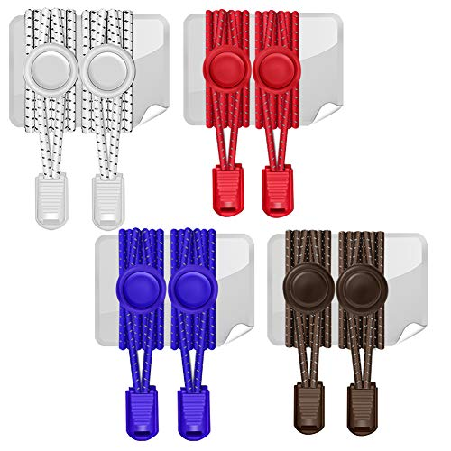 (AMLY 4 Pairs of Elastic No Tie Shoelaces, Upgraded Lock, Reflective Shoe Laces for Kids and Adults (White-Brown-Blue-Red))