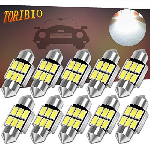 TORIBIO 31mm 6000K Pure White Bright Interior Car Lights Error Free CANBUS 3175 Festoon Dome Lights De3021 De3175 LED Bulbs