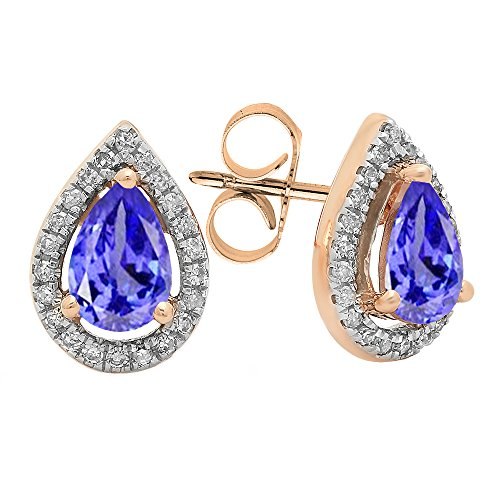 (Dazzlingrock Collection 14K 6X4 MM Each Pear Tanzanite & Round Diamond Ladies Halo Stud Earrings, Rose Gold)