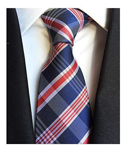 Men's Classic Navy Blue Check Tie Jacquard Woven Silk Tie Necktie + Gift Box