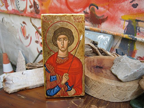 Antique look St George icon byzantine orthodox art and iconography of Greece by Angelicon