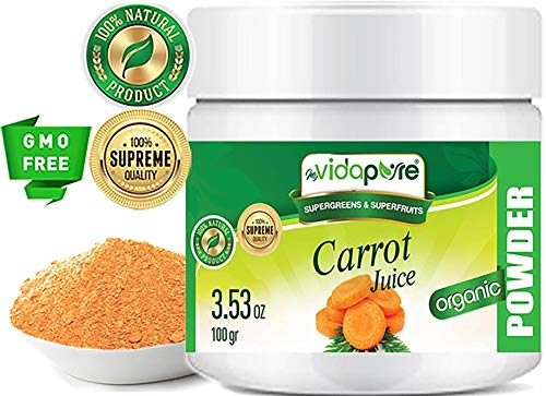 Carrot Powder Organic Freeze-Dried, Pure Natural RAW Gluten-Free, Non-GMO. Natural Booster, Superfood Powder for Smoothie, Beverages. 3.53 oz - 100 gr. by ()