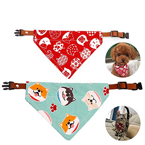 2 Pack Dog Bandanas Cat Collar Pet Triangle Scarf Bibs - Adjustable Set Accessories, Suitable for Small or Medium-Sized Cat and Dog (Small+Medium)