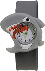 Cartoon Slap Watch Shark Design with Bendable Silicone Strap Wristwatches for Children (Shark)
