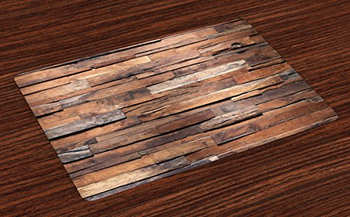 Lunarable Wooden Place Mats Set of 4, Old Ruined Rustic Planks in Horizontal Order Construction Country House Picture, Washable Fabric Placemats for Dining Room Kitchen Table Decor, Cinnamon Umber