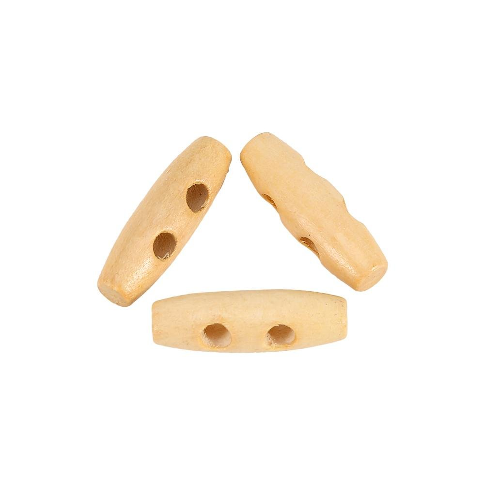 Xinrub Akozon 50Pcs 2 Holes Wood Sewing Horn Toggle Buttons Natural Olive Shape 11x30mm for Clothes Decor