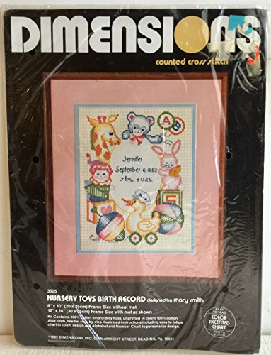 Dimensions Counted Cross Stitch Kit #3505 'Nursery Toys Birth Record' 1982