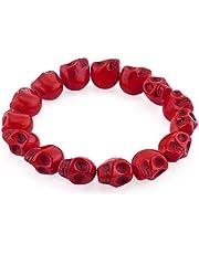 Heart of Charms Howlite Turquoise Stone Bracelets Elastic Gothic Skull Beads Bracelet Buddhist Prayer