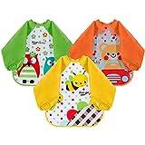 Lictin Bibs with Sleeves EVA Baby Bib 3pcs Waterproof Unisex Waterproof Long Sleeved Bib EVA Baby...