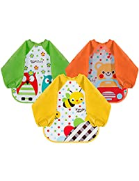 Lictin Bibs with Sleeves EVA Baby Bib 3pcs Waterproof Unisex Waterproof Long Sleeved Bib EVA Baby Bandana Drool Baby Bib Apron Baby Drool Bibs for Infant Toddler 6 months to 3 years old