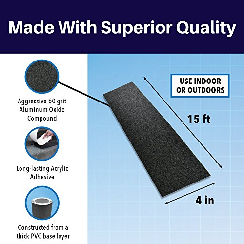 SlipDoctors Outdoor Black Anti-Slip Safety Tape 4 inch x 15 feet, Highest Traction Strong Adhesive, Indoor and Outdoor, Use on Walkways, Stairs, Ramps and Decks