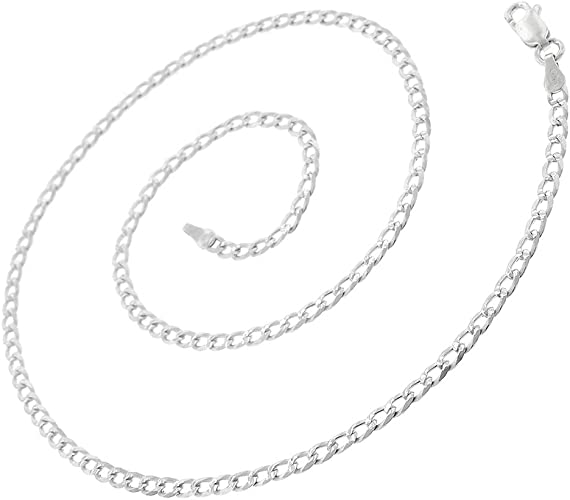 925 Sterling Silver 2.5mm Solid Cuban Curb Diamond Cut ITProLux Chain Necklace