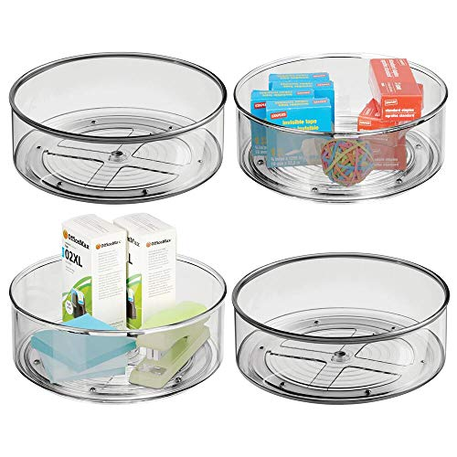 mDesign Deep Plastic Spinning Lazy Susan Turntable Storage Container for Desktop, Drawer, Closet - Rotating Organizer for Home Office Supplies, Erasers, Colored Pencils - 9