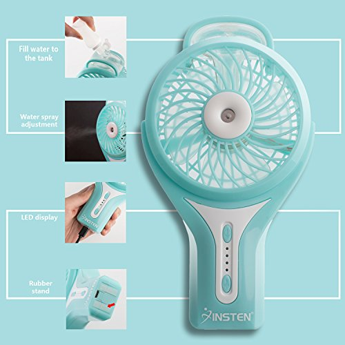 Insten Portable Handheld USB Mini Misting Fan With Personal Cooling Humidifier, Rechargeable Battery & Water Spray Fan for Music Festival, Traveling & Preventing from Heat Stroke, Blue