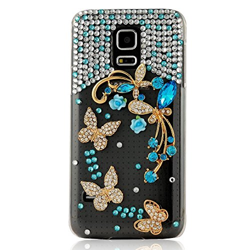 Samsung Galaxy S4 mini Case, Sense-TE Glamour Crystal 3D Handmade Sparkle Glitter Butterfly Flowers Dance Blue Gem Rhinestone Cover with Retro Bowknot Anti Dust Plug - Blue
