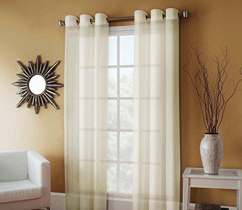 GorgeousHomeLinenDifferent Colors & Sizes Ruby 1 Pc Sheer Window Curtain Drape Panel 8 Soild Bronze Grommets (84