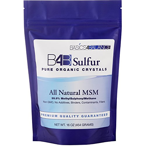 B4B Sulfur Organic Crystals, All Natural MSM Powder Supplement, 1 pound (16 oz.) Bag