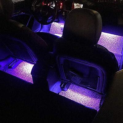 Sanhezhong Car LED Strip Light, 4pcs 48 LED DC 12V Multicolor Music Car Interior Light LED Under Dash Lighting Kit with Sound Active Function, Wireless Remote Control, Car Charger: Car Electronics