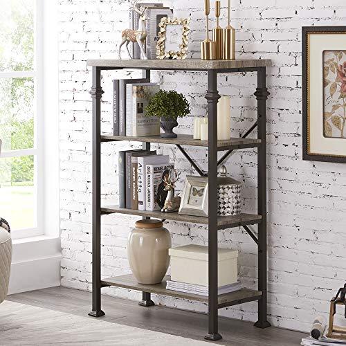 Hombazaar 4-Tier Industrial Bookcases, Vintage Open Etagere Bookshelf, Multi-Functional Shelf Units for Collection, Grey Oak (Room Pottery Design Barn Tool)