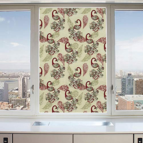 3D Decorative Privacy Window Films,Winter Pattern with Stylized Peacocks and Snowflakes Floral Paisley Ornamental Decorative,No-Glue Self Static Cling Glass film for Home Bedroom Bathroom Kitchen Offi