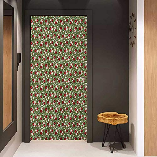 Onefzc Soliciting Sticker for Door Christmas Pine Fir Cones Balls and Coniferous Tree Leaves Holly Berry Old Fashioned Mural Wallpaper W17.1 x H78.7 Red Green Silver