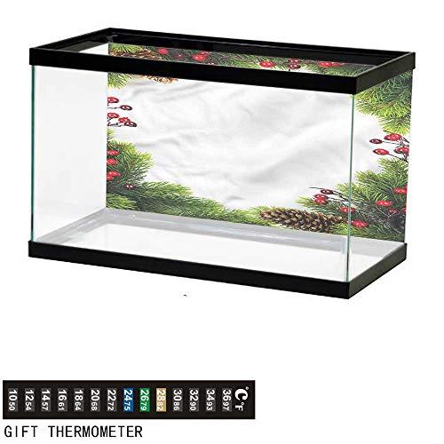 bybyhome Fish Tank Backdrop Christmas,Xmas Frame Pine Cones,Aquarium Background,30