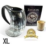 Jomsborg The Odin 38 oz. horn mug Beer tankard Viking horn with shot glass