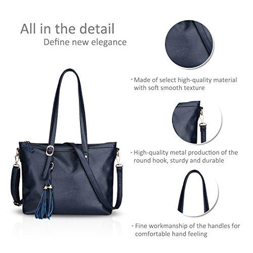 NICOLE&DORIS Dame Handtaschen Umhängetasche Schultertasche Taschen Tote PU Blau Blau aA6uhL