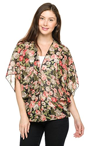 2LUV Women's Multicolored 3/4 Sleeve Open Front Kimono Cardigan Green & Coral M (27C-28939-112)