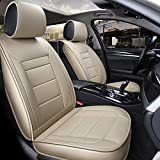 INCH EMPIRE Car Seat Cover Leatherette Waterproof Easy to Clean PU Leather Car Seat Cushions 5 Seats Full Set - Adjustable Anti-Slip Back Design Universal Fit(Pure Beige)