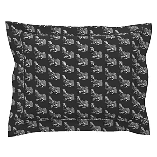 - Roostery Toile Standard Flanged Pillow Sham Rooster Strut Black by Keweenawchris Natural Cotton Sateen Made